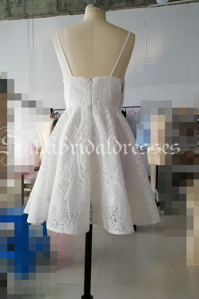 Ivory Spaghetti Strap Deep V Neck Lace Short Homecoming Dress, Sweet Lace Prom Dress N1080