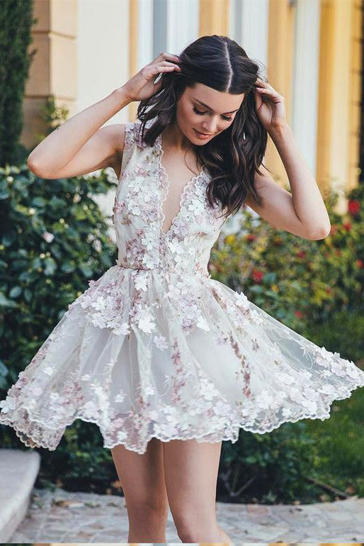 A-Line V-Neck Homecoming Dress,Appliqued Mini Dress,Sleeveless Short Tulle Homecoming Dress with Appliques,Cute Short Prom Dress,N136
