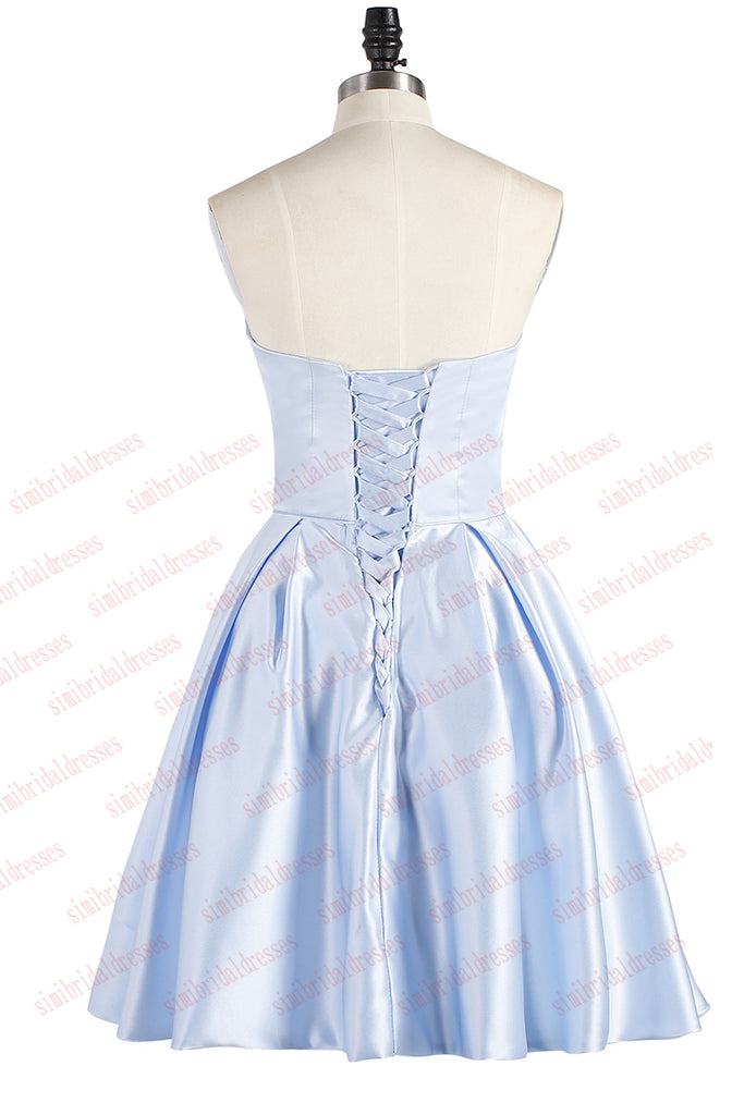 Light Blue Strapless Short Satin Homecoming Dress, Cheap Cocktail Dress with Beading N962