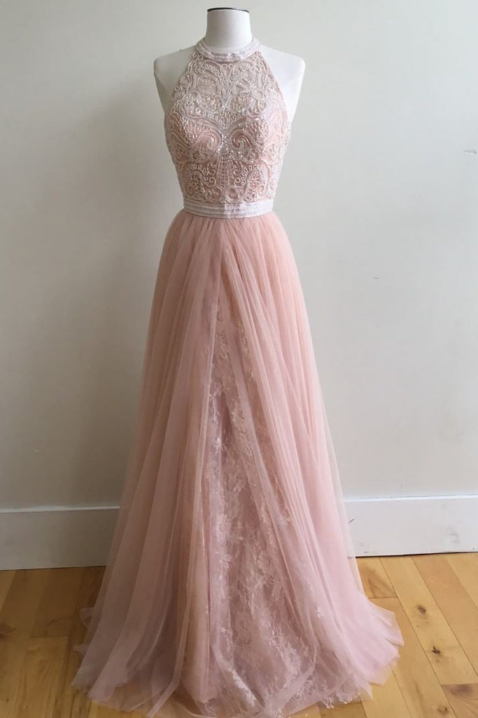 A-Line Halter Pink Floor-Length Prom Dresses,Sleeveless Tulle Prom Dress with Appliques,N102