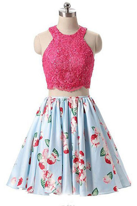 New Arrival Two Piece Round Neck Homecoming Dresses,Light Blue Short Prom Gown