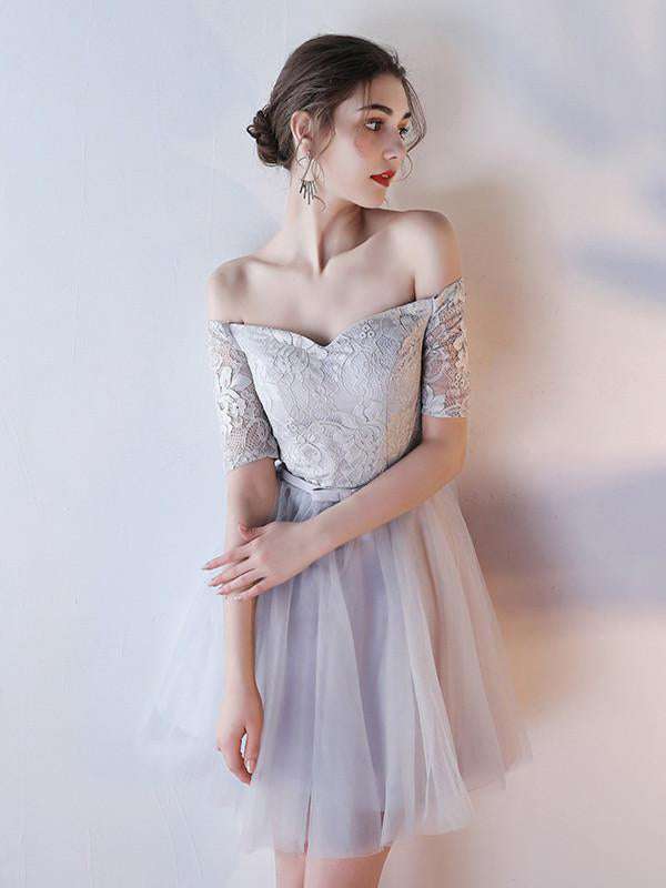 Off-shoulder Homecoming Dress Half Sleeve Lace Tulle Short Prom Dress Graduation Dress,N242