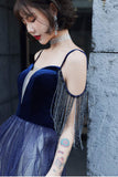Blue Ombre Spaghetti Straps Long Prom Dress with Tassels, Unique Evening Dress N2659