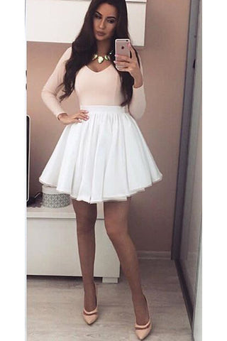 934190dad06 Pink Long Sleeves V-neck Satin Homecoming Dress with White Tulle Skirt
