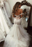 Off the Shoulder Mermaid Wedding Dress with Lace, Long Tulle Bridal Dress with Train N1382