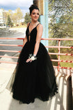 Fashion Spaghetti Straps Black Prom Dresses Floor Length Evening Party Dresses N2478