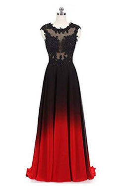 Black and Red Sleeveless Ombre Prom Dresses, A Line Lace Appliques Party Dress N1678