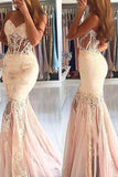 Sexy Sheer Mermaid Sleeveless Sweetheart Tulle Lace Long Prom Dresses,N745