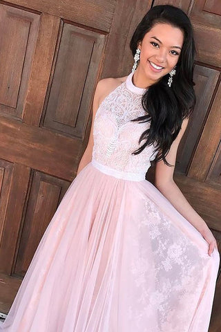 A-Line Sleeveless Halter Tulle Lace Sweep Train Prom Dresses,Long Cheap Prom Gown,N751