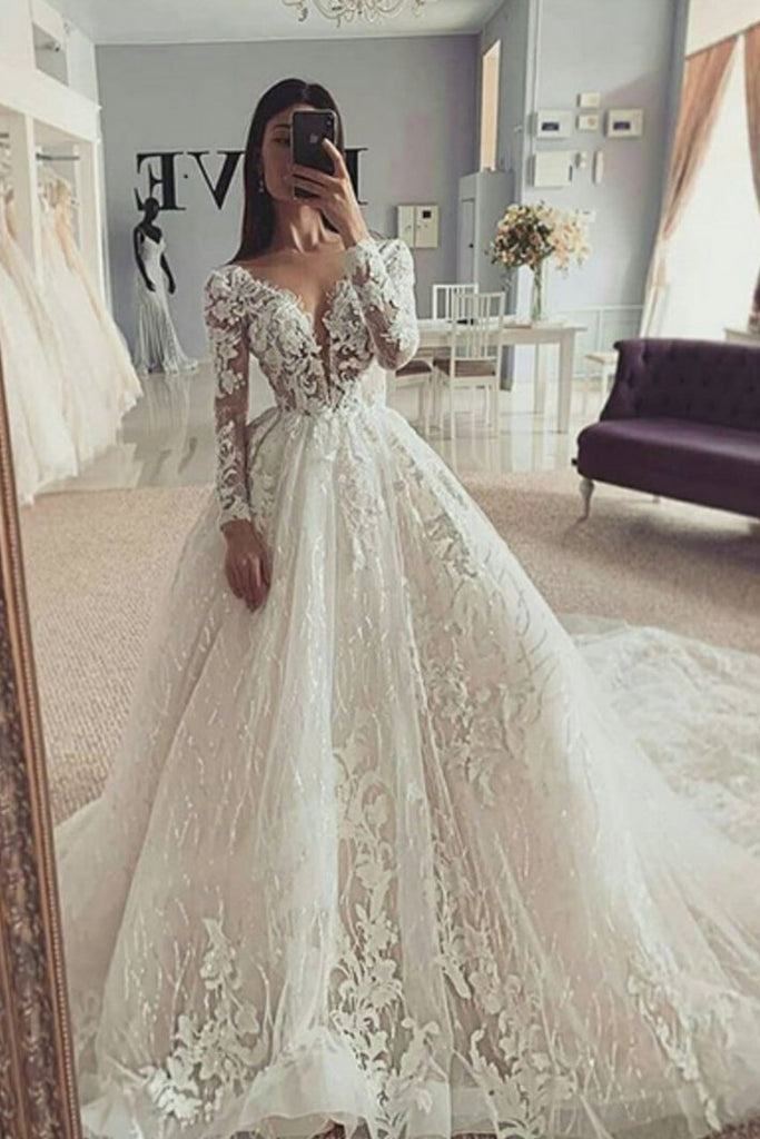 Puffy V Neck Long Sleeves Wedding Dress With Appliques, Stunning Wedding Gown with Train N2423
