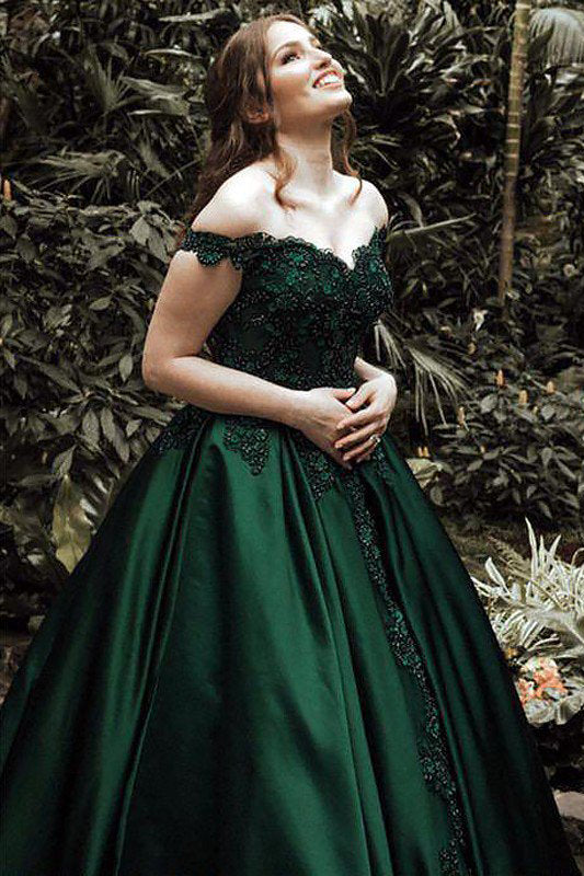 Dark Green Ball Gown Off-the-Shoulder Floor-Length Appliques Satin Prom Dresses N759