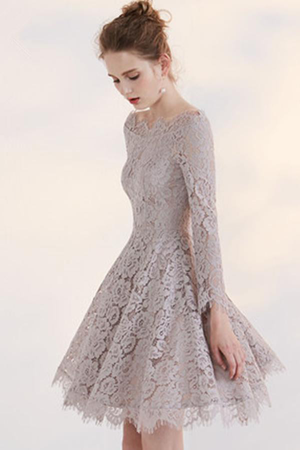 Temperament Long Sleeve Off-shoulder Lace Homecoming Dress,Short Prom Gown,N264