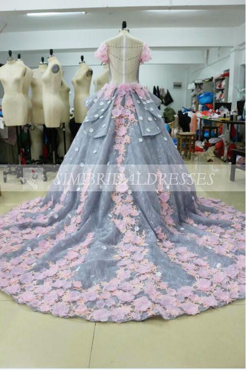 Luxurious Ball Gown Backless Appliqued Long Wedding Dress,Wedding Gown with Flowers