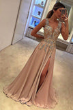 A Line Split Deep V Neck Sleeveless Prom Dress with Appliques, Long Evening Dress