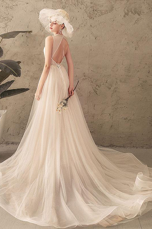 Ivory Jewel Sleeveless Tulle Wedding Dress with Lace, A Line Pleats Open Back Bridal Dress N2583