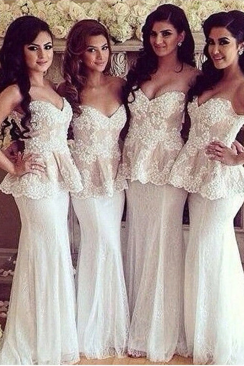 White Sweetheart Bridesmaid Dress,Special Sleeveless Mermaid Bridesmaid Dresses,Sexy Lace Prom Dress,Formal Dress Long,N149