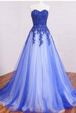 2017 New Arrival Sweetheart  Long Lace Appliques Prom Dress,Strapless Royal Blue Tulle Prom Dresses,Formal Dress,Cheap Simple A-line Prom Gown,N138