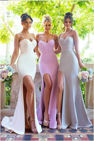 Sexy Mermaid Spaghetti Straps Sleeveless Side Slit Bridesmaid Dress,Long Prom Gown,N421