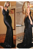 Sexy Spaghetti V-neck Long Mermaid Prom Dresses,Black Backless Sequin Prom Dress N30