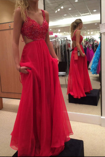 Spaghetti Strap Lace Bodice Prom Dress,Red Prom Gown,Chiffon Backless Prom Dress,Red Long Formal Gown 2017,Sleeveless Prom Gowns,Sexy Prom Dress,A-line Chiffon Prom Dress With Beaded,N94