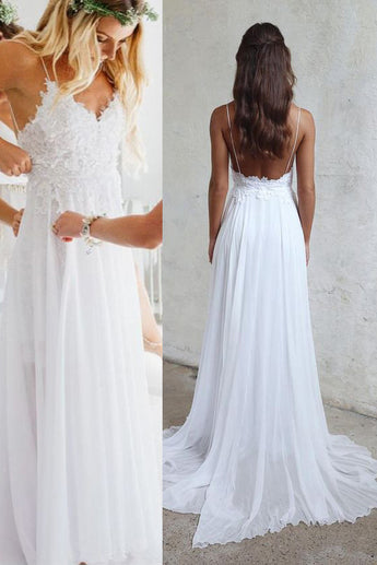 Spaghetti Strap V Neck White Chiffon Lace Appliqued Summer Beach Wedding  Dresses,Bridal Dress