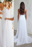 Spaghetti Strap V-neck White Chiffon Lace Appliqued Summer Beach Wedding Dresses,Bridal Dress,N157