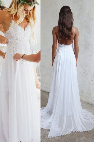 9520a38ab3 Spaghetti Strap V-neck White Lace Appliqued Beach Wedding Dresses –  Simibridaldress