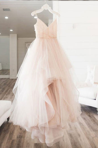 Cheap A-Line Spaghetti Straps Sleeveless Tulle Long Wedding Dress,Prom Dress,N572