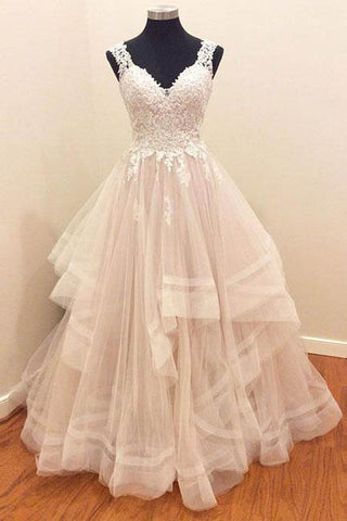 Cheap Ivory A-line V-neck Sleeveless Tulle Prom Dress with Lace Appliques,N713