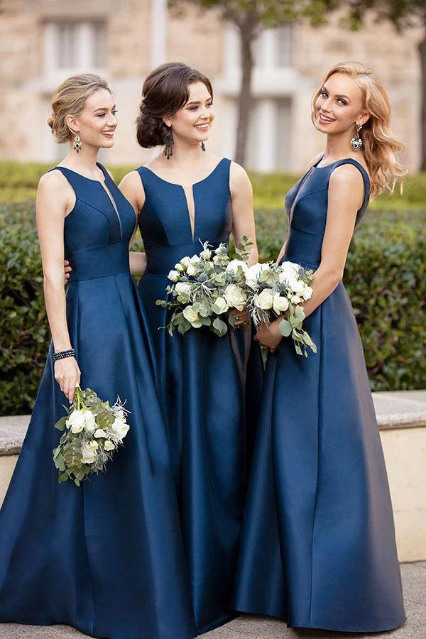 Modest A-line Satin Sleeveless Floor Length Simple Cheap Bridesmaid Dresses Prom Gowns N2512