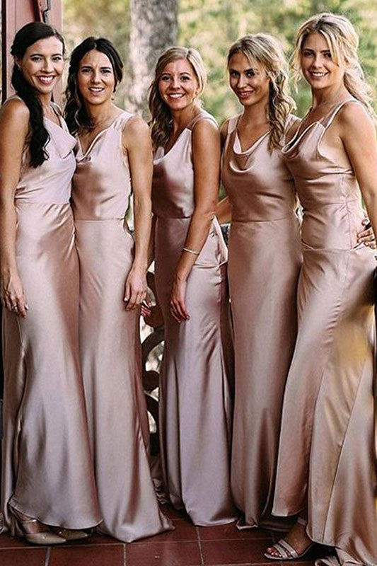 Sheath/Column Sleeveless Floor-Length Sleeveless Bridesmaid Dresses, Simple Bridesmaid Dress N2387