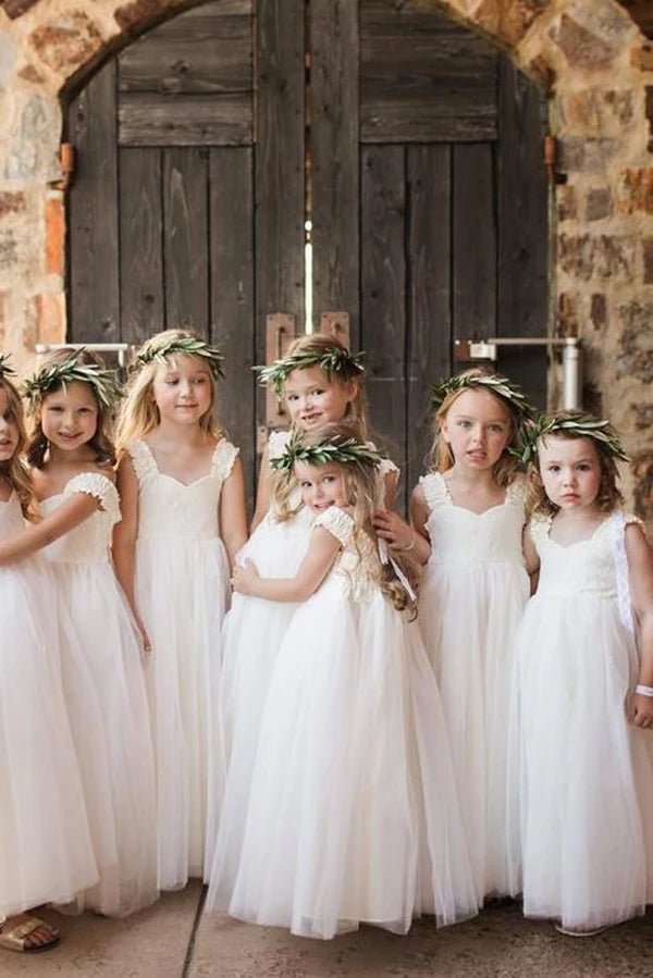 Ivory Straps Tulle Floor Length Flower Girl Dress with Lace, A Line Lace Flower Girl Dresses F078
