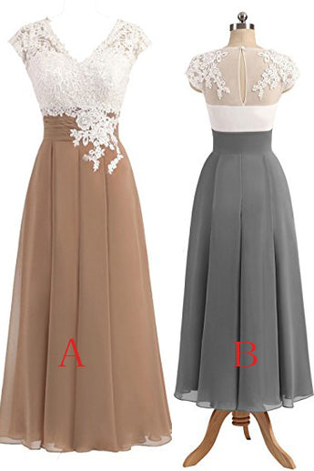 Gray V-neck Cap Sleeves Lace Applique Chiffon Mother of the Bride Dresses,N543