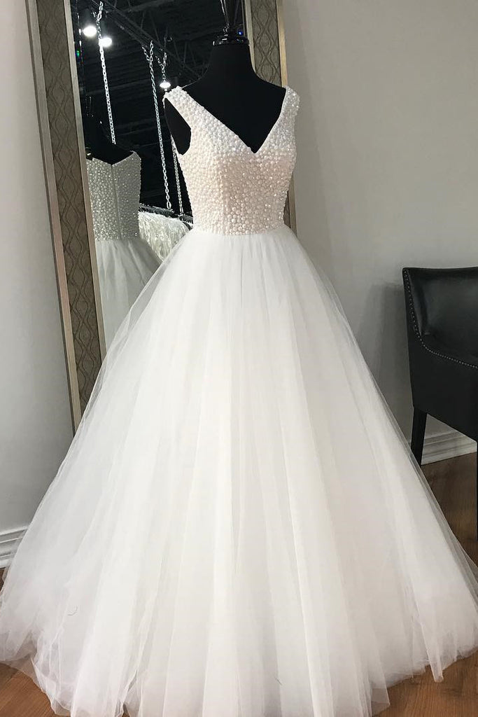 Ivory Floor Length V Neck Wedding Dress with Beads, A Line Sleeveless Tulle Bridal Gown