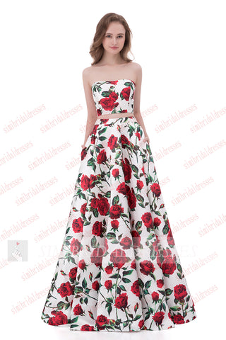 Two Pieces Strapless Red Floral A-line Floor-length Cheap Prom Gown ...