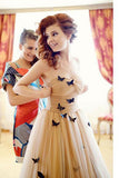 A-line Strapless Floor-length Ruched Tulle Wedding Dresses with Flowers,N492