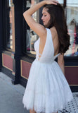 Deep V Neck Lace Sleeveless Homecoming Dress,Sexy Junior Dress,White Prom Gown,N316