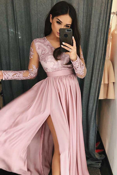 Simple V Neck Long Prom Dress with Long Sleeves, Pink Split Evening Dress with Lace N1732