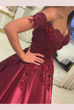 Charming Sleeveless Off-the-Shoulder Applique Satin Floor-Length Prom Dresses,N752