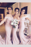 Light Pink Mermaid Off-the-shoulder Long Bridesmaid Dress with Lace Appliques N785