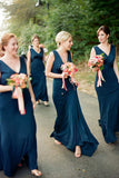 Unique V Neck Sleeveless Bridesmaid Dress, Modern Long Bridesmaid Dress with Pleats N1092