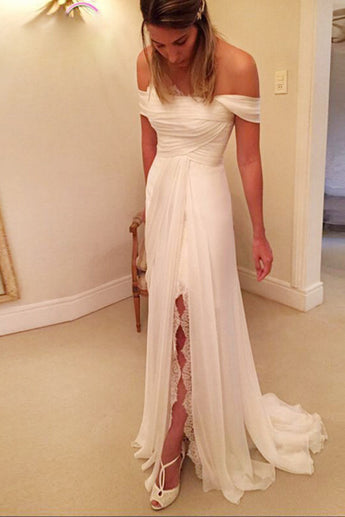 A-Line Wedding Dress,Off-the-Shoulder Wedding Dresses,Long Chiffon Beach Wedding Dress with Lace Split,Backless Bridal Dresses,N123