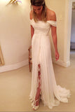 A-Line Off-the-Shoulder Wedding Dresses,Long Chiffon Beach Wedding Dress with Lace Split,N123