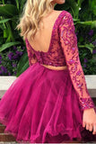 Fuchsia Two Piece Long Sleeves Tulle Homecoming Dress with Beading, Short Prom Dress