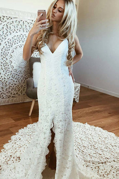 Sexy Mermaid Spaghetti Straps Backless Beach Lace Wedding Dress, Lace Bridal Dress N1361