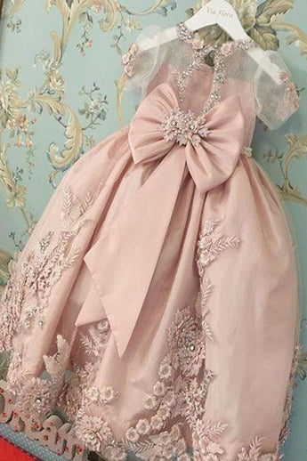 Blush Pink Short Sleeves Floor Length Appliqued Flower Girl Dress with Bow F037