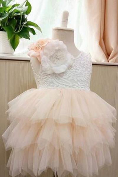 Knee-length Tulle Backless Scoop Sleeveless Tiered Flower Girl Dresses with Flowers,F012