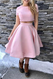 A-Line Short Sleeves Tea-Length Homecoming Dress, Two Piece Satin Prom Dresses N1951