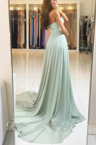 Elegant Sweetheart Lace and Chiffon Backless Prom Dress, Sweep Train Evening Dress N1346