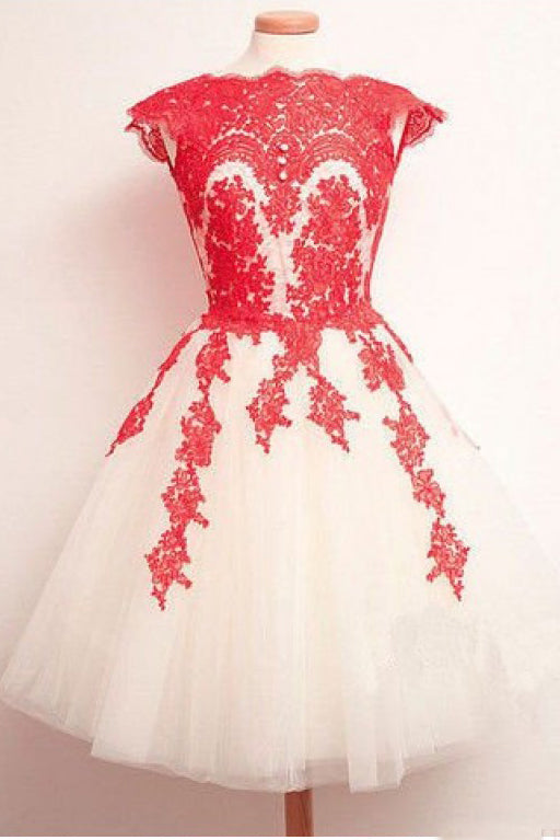 Knee Length Lace Applique Short Tulle Prom Dresses, A Line Ivory Homecoming Party Dresses N1049